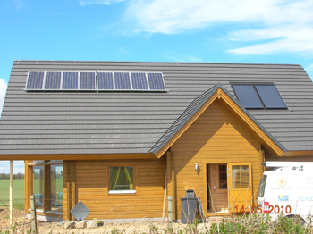 Solar thermal and PV installation on new build property in Fyvie